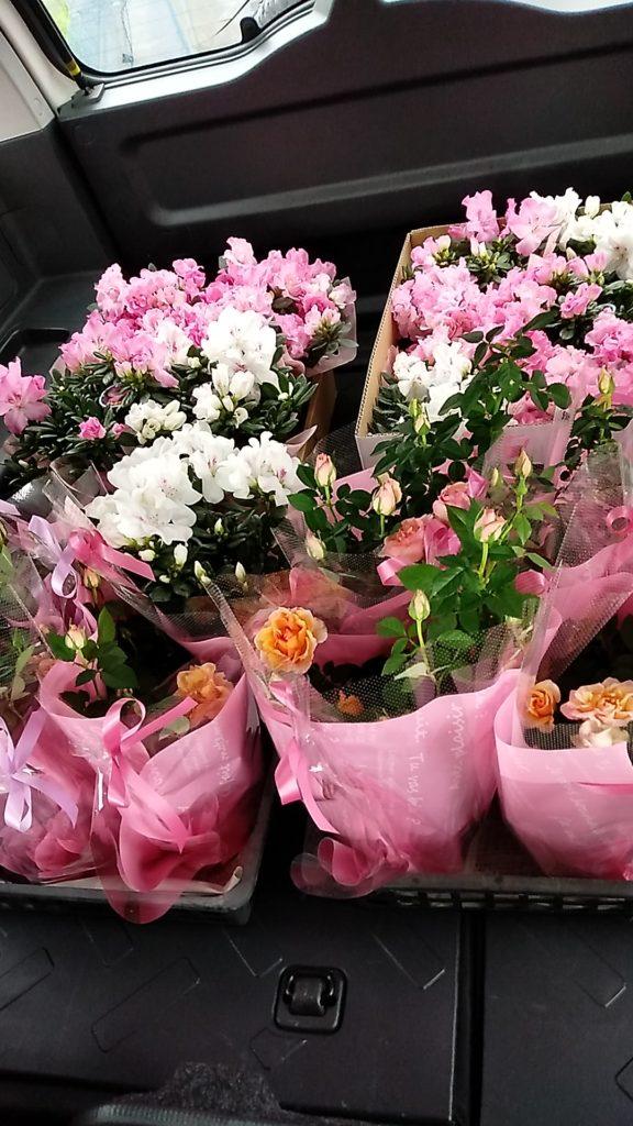 ステージに飾ったお花を車に積んだらとっても素敵な車内になりました。発表会が終わってから出演者のみなさんにお配りしました♪